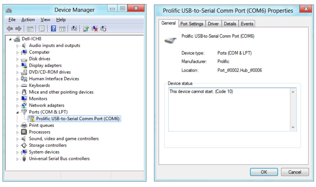 Error 10 on the Prolific USB to Serial driver