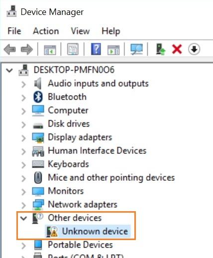 device manager error uart
