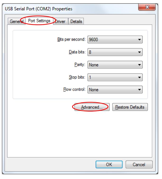 UART advanced settings